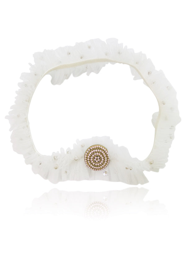 DOLLY by Le Petit Tom ® BOHO headband pink stone off-white - DOLLY by Le Petit Tom ®