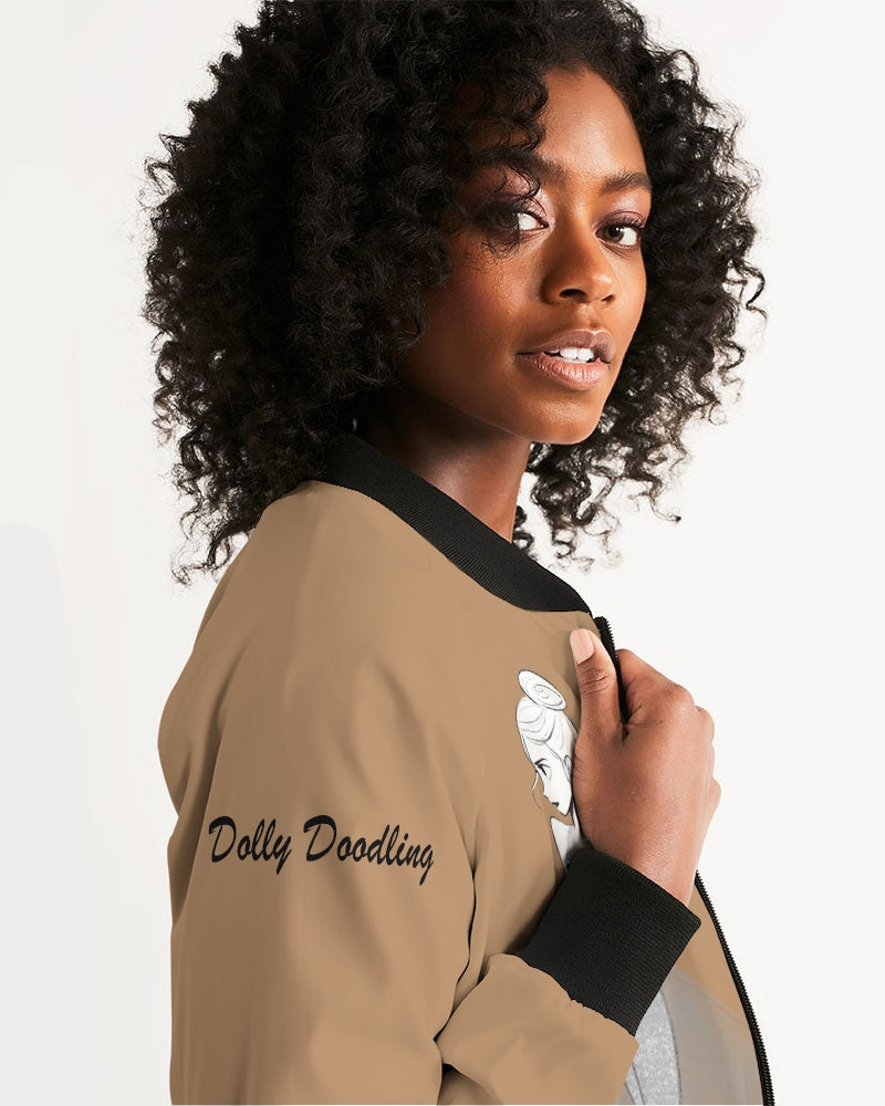 DOLLY DOODLING BAMBI BROWN Women's Bomber Jacket
