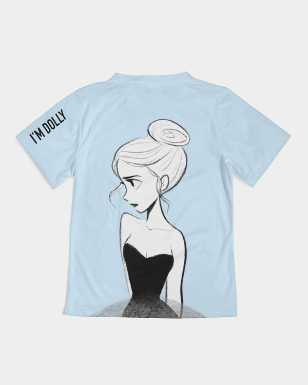 DOLLY DOODLING Ballerina Sky Blue Kids Tee