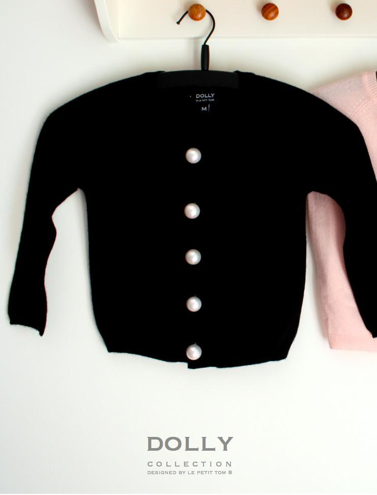 DOLLY by Le Petit Tom ® PEARLED UP CARDIGAN Cashmere black - DOLLY by Le Petit Tom ®