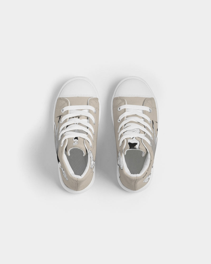 DOLY DOODLING KHAKI Kids Hightop Canvas Shoe