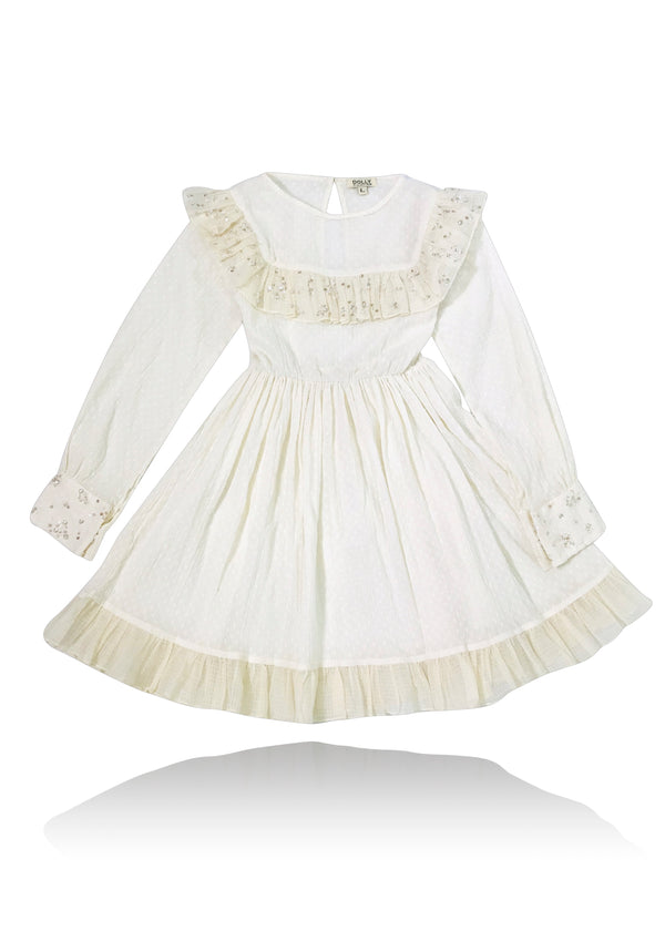 [ PRE ORDER !] DOLLY by Le Petit Tom ® JEWELER'S CRYSTALS cotton dress with chest ruffle