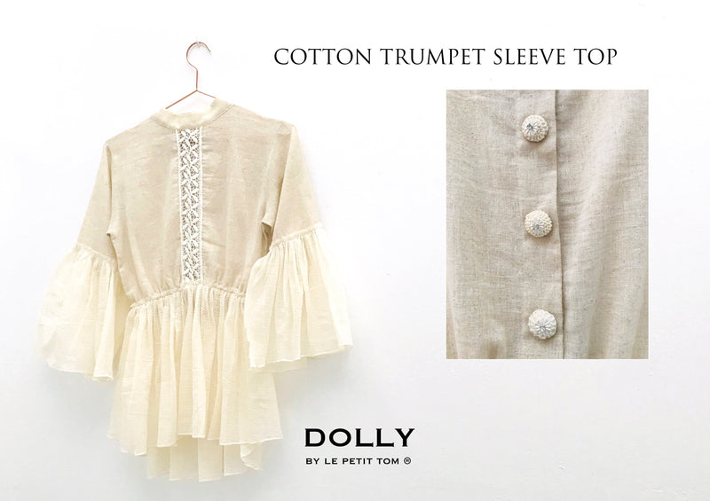 [ OUTLET!] DOLLY by Le Petit Tom ® JEWELER'S CRYSTALS cotton trumpet sleeve top
