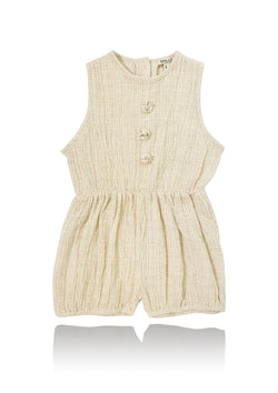DOLLY by Le Petit Tom ® JEWELER'S CRYSTALS crinkled cotton romper