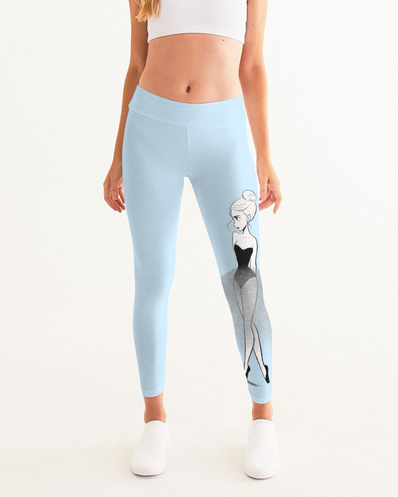 DOLLY DOODLING Ballerina Sky Blue Women's Yoga Pants