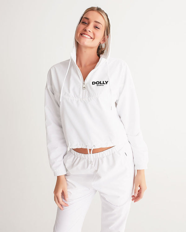 DOLLY SPORTS WHITE Women's Cropped Windbreaker
