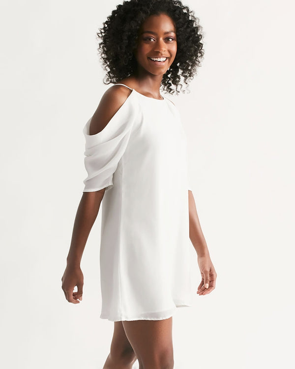 DOLLY WHITE  Women's Open Shoulder A-Line Dress