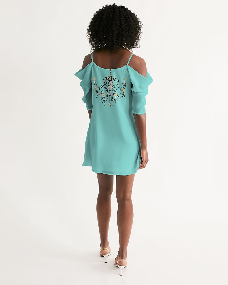 DOLLY GOLIGHTLY TIFFANY BLUE Women's Open Shoulder A-Line Dress