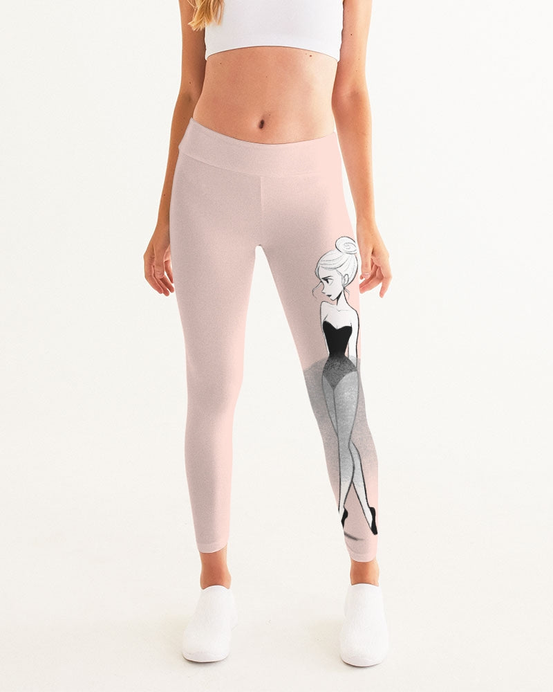 DOLLY DOODLING Ballerina Ballet Blush Pink Women's Yoga Pants