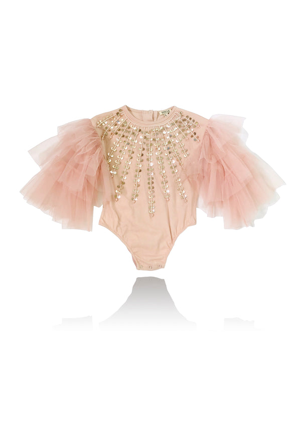 DOLLY by Le Petit Tom ® JEWELER'S CRYSTALS Shiny Energy romper ballet pink