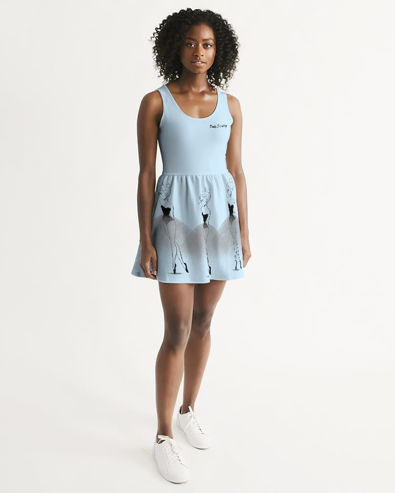 DOLLY DOODLING Ballerina Sky Blue TRIPLE ELVIS' Women's Scoop Neck Skater Dress