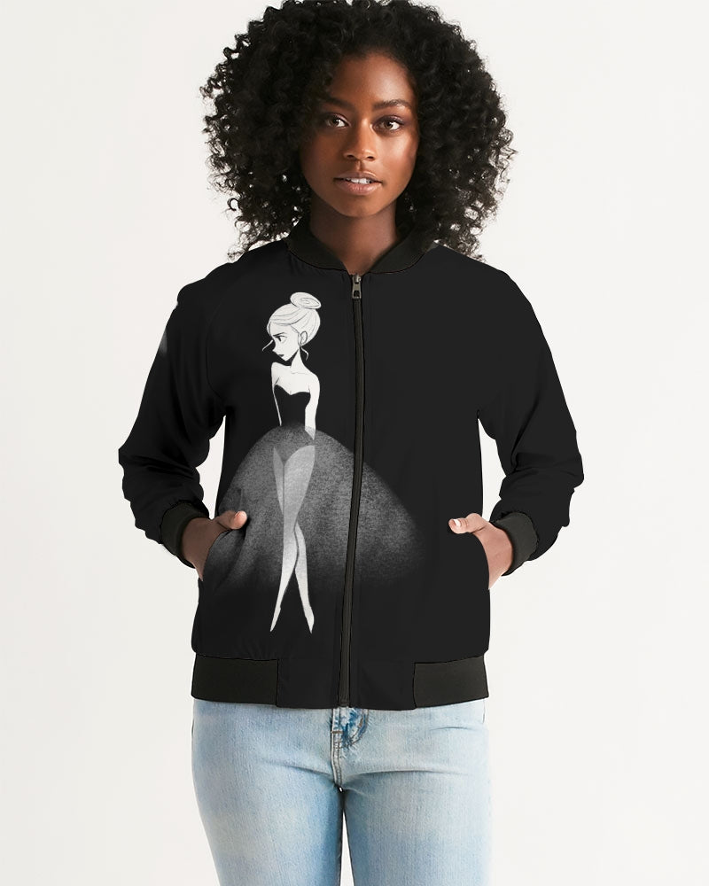 DOLLY DOODLING Ballerina Black Women's Bomber Jacket
