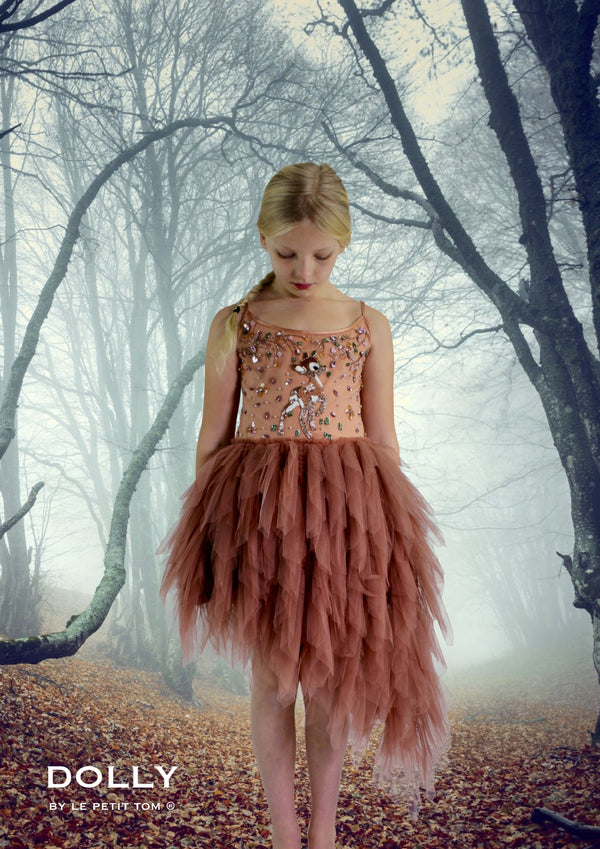 DOLLY by Le Petit Tom ® FAWN BAMBI tutu dress brown - DOLLY by Le Petit Tom ®