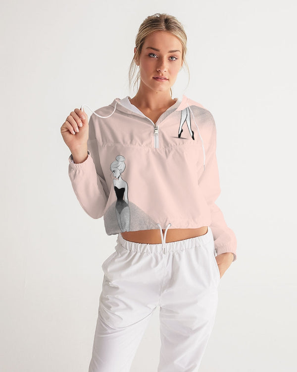 DOLLY DOODLING Ballerina Ballet Blush Pink Women's Cropped Windbreaker