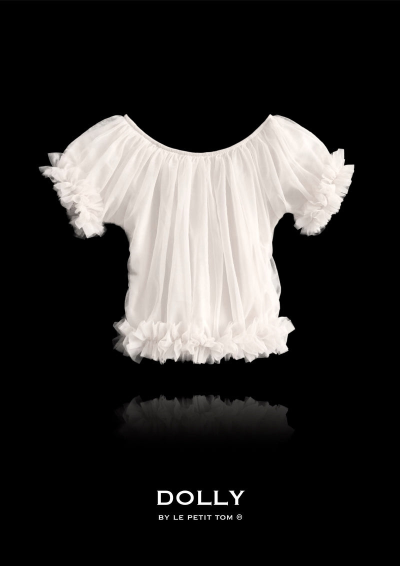 DOLLY by Le Petit Tom ® FRILLY PRINCESS TOP off-white