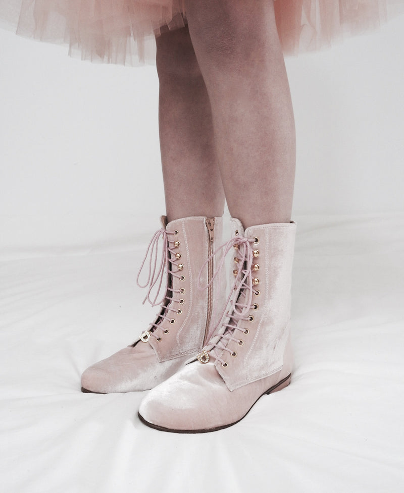 DOLLY by Le Petit Tom ® VELVET VICTORIAN BOOTS 23VELVIC light pink - DOLLY by Le Petit Tom ®