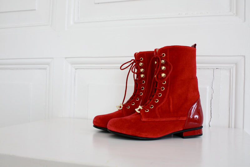 DOLLY by Le Petit Tom ® VELVET VICTORIAN BOOTS 13VELVIC red - DOLLY by Le Petit Tom ®