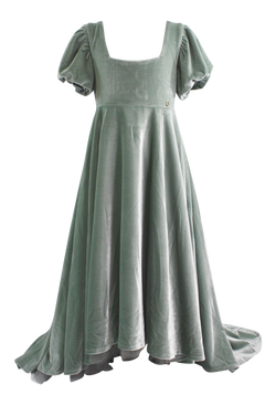 DOLLY by Le Petit Tom ® VELVET EMPRESS DRESS silvery green ( Sample) - DOLLY by Le Petit Tom ®