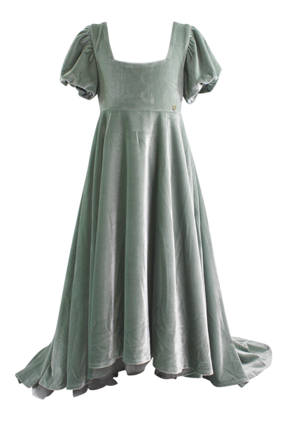 DOLLY by Le Petit Tom ® VELVET EMPRESS DRESS silvery green ( Sample)