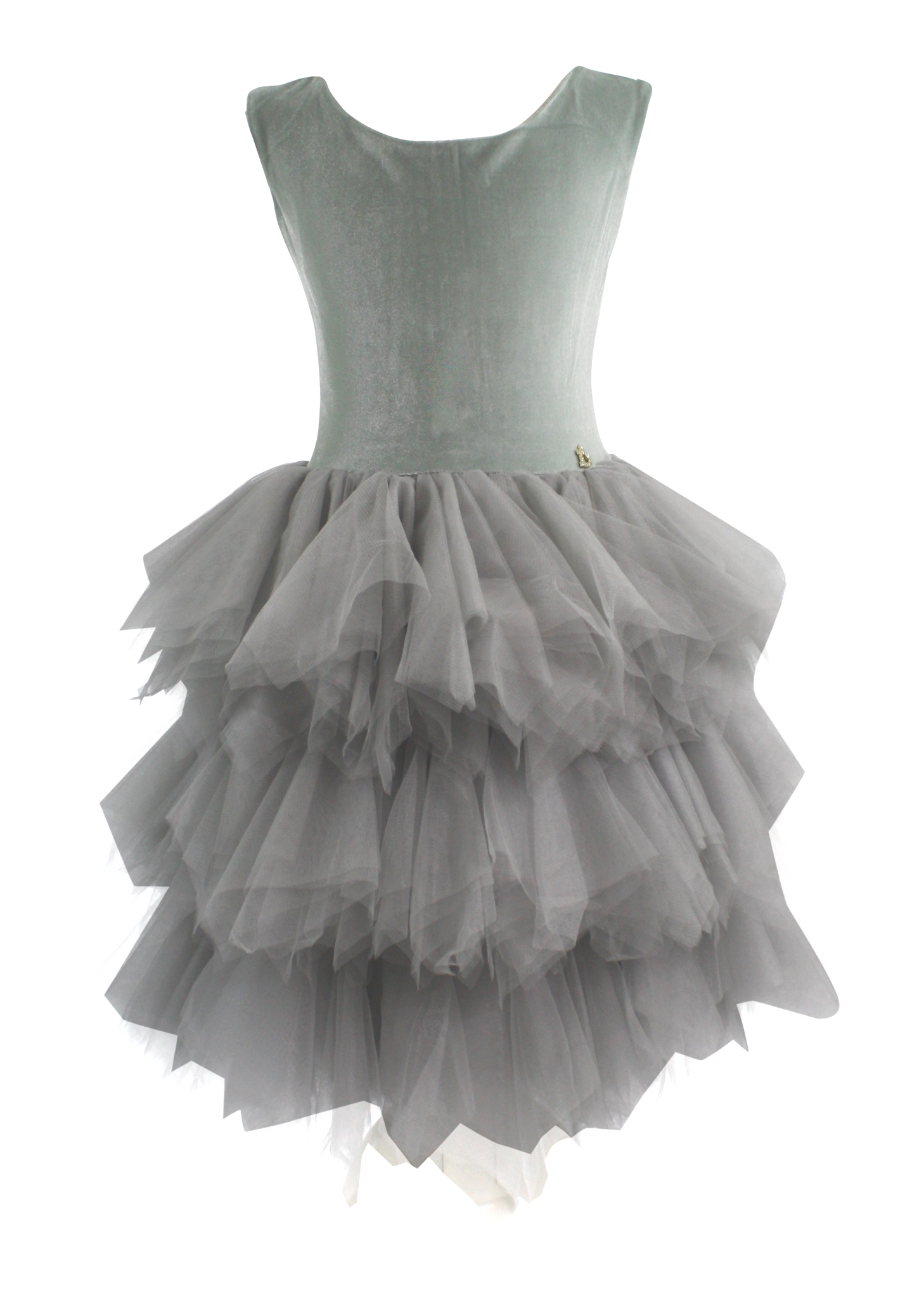 DOLLY by Le Petit Tom ® VELVET PIROUETTE TUTU DRESS silvery green