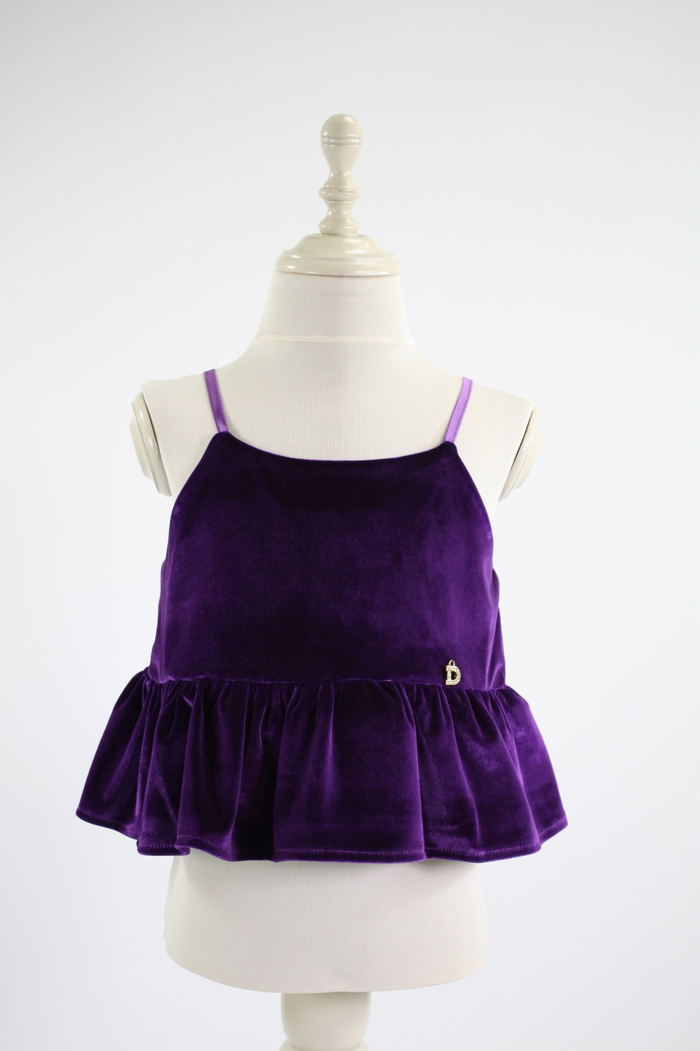 DOLLY by Le Petit Tom ® VELVET CAMI TOP WITH FRILL purple - DOLLY by Le Petit Tom ®