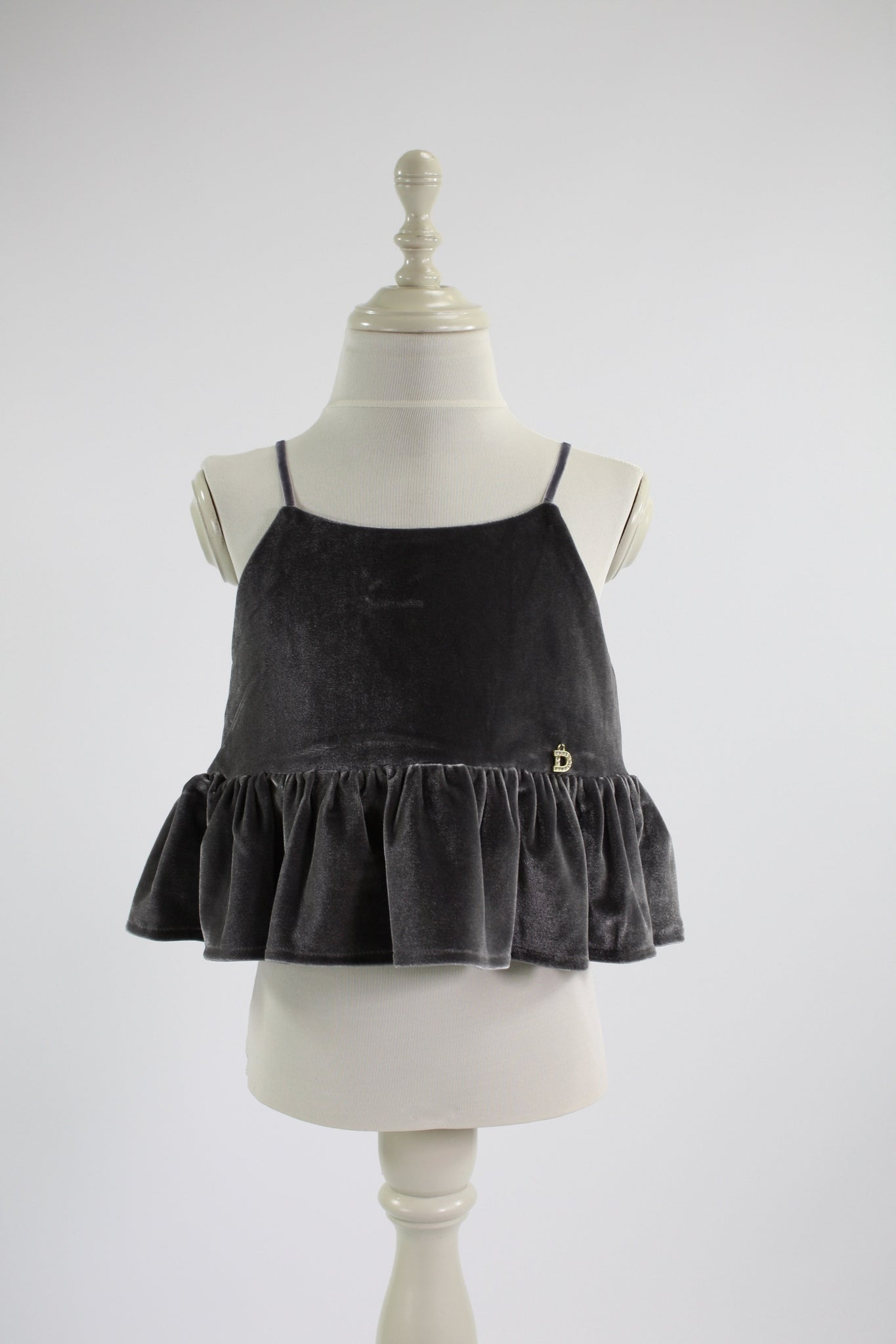 DOLLY by Le Petit Tom ® VELVET CAMI TOP WITH FRILL dark grey