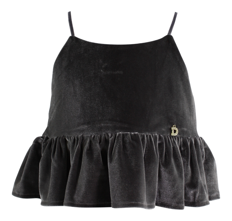 DOLLY by Le Petit Tom ® VELVET CAMI TOP WITH FRILL dark grey - DOLLY by Le Petit Tom ®