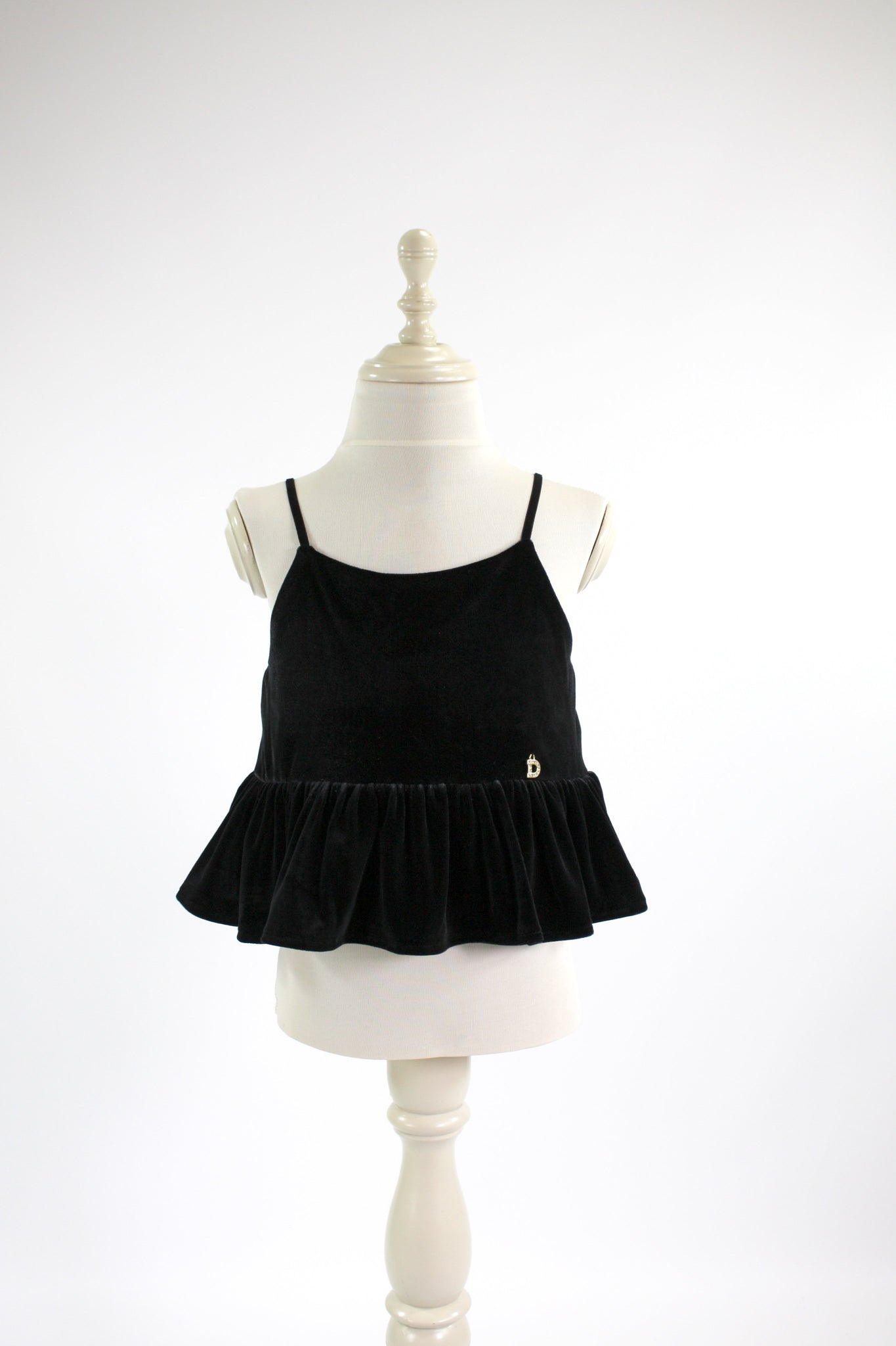DOLLY by Le Petit Tom ® VELVET CAMI TOP WITH FRILL black