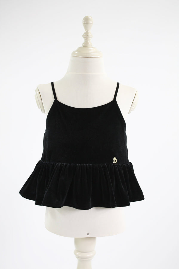DOLLY by Le Petit Tom ® VELVET CAMI TOP WITH FRILL black - DOLLY by Le Petit Tom ®