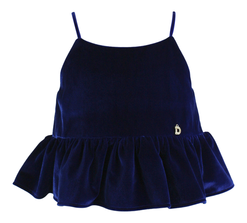 DOLLY by Le Petit Tom ® VELVET CAMI TOP WITH FRILL royal blue - DOLLY by Le Petit Tom ®