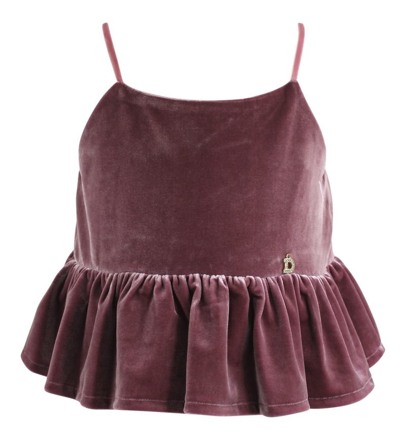 DOLLY by Le Petit Tom ® VELVET CAMI TOP WITH FRILL mauve - DOLLY by Le Petit Tom ®