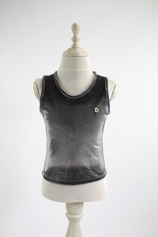 DOLLY by Le Petit Tom ® VELVET TANK TOP dark grey - DOLLY by Le Petit Tom ®