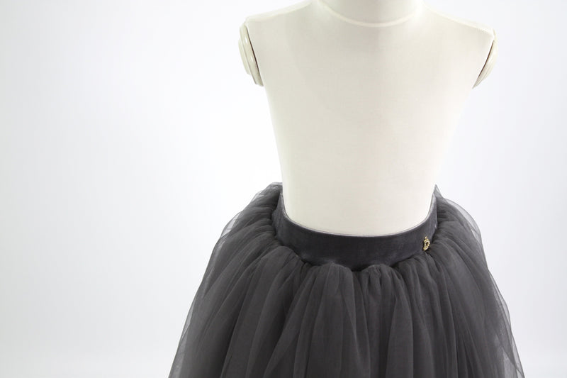 DOLLY by Le Petit Tom ® VELVET LONG TUTU dark-grey - DOLLY by Le Petit Tom ®