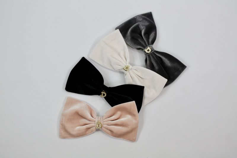 DOLLY by Le Petit Tom ® VELVET HAIR BOW CLIP off-white - DOLLY by Le Petit Tom ®