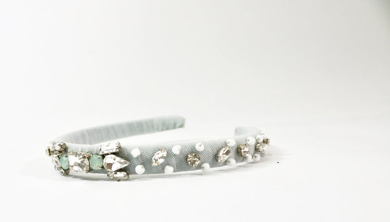 DOLLY by Le Petit Tom ® ONDINE hair band beige- light blue - DOLLY by Le Petit Tom ®