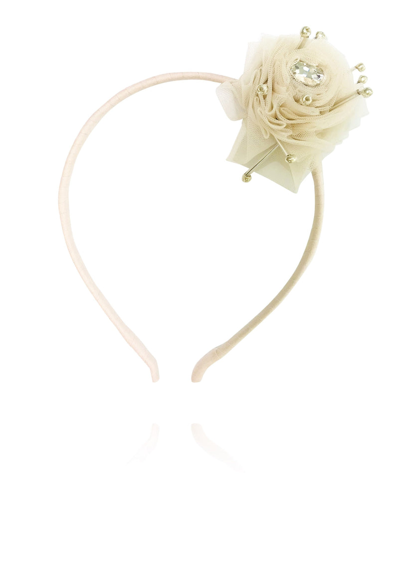DOLLY by Le Petit Tom ® True Ballerina hair rosette headband coffee - DOLLY by Le Petit Tom ®