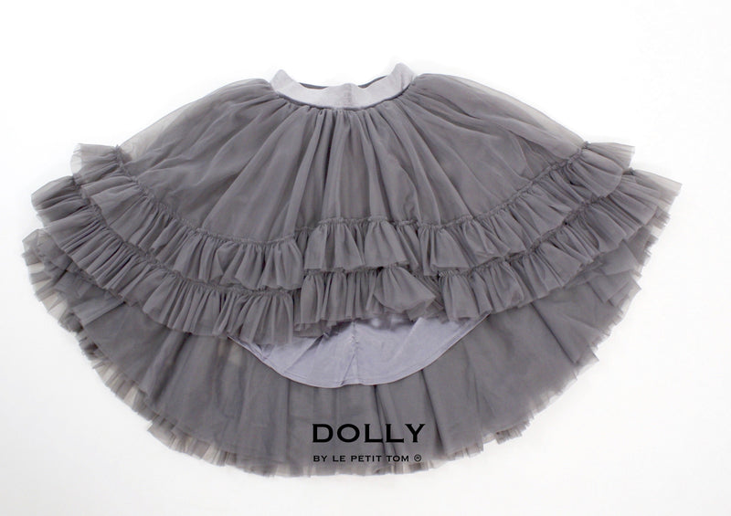DOLLY by Le Petit Tom ® RUFFLED CHIFFON DANCE HIGH LOW TUTU dark grey - DOLLY by Le Petit Tom ®