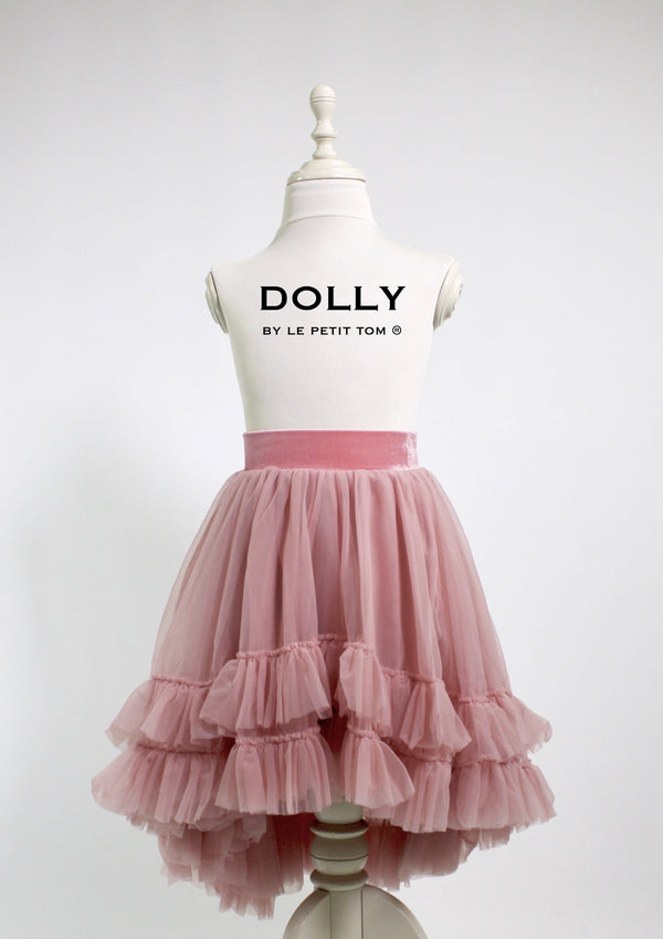 e1cb5bb0f3146 ... DOLLY by Le Petit Tom ® RUFFLED CHIFFON DANCE HIGH LOW TUTU dusty pink  - DOLLY