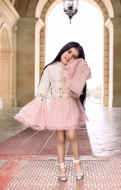 [ OUTLET!] DOLLY by Le Petit Tom ® BOHO trumpet top dress ballet pink
