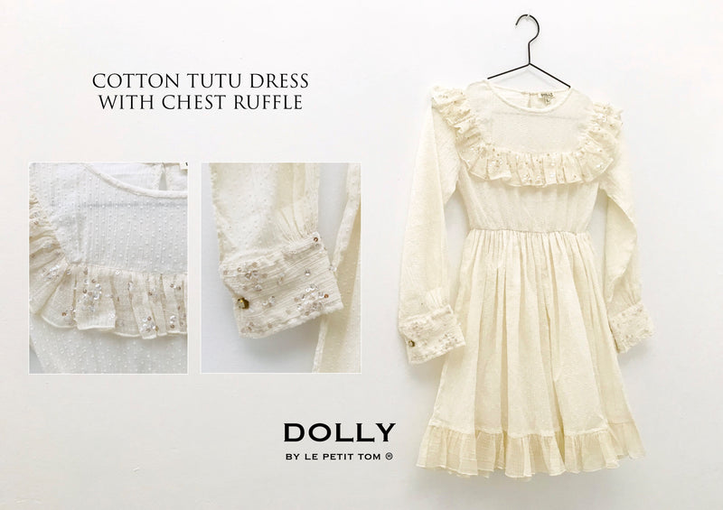 DOLLY by Le Petit Tom ® JEWELER'S CRYSTALS cotton dress with chest ruffle