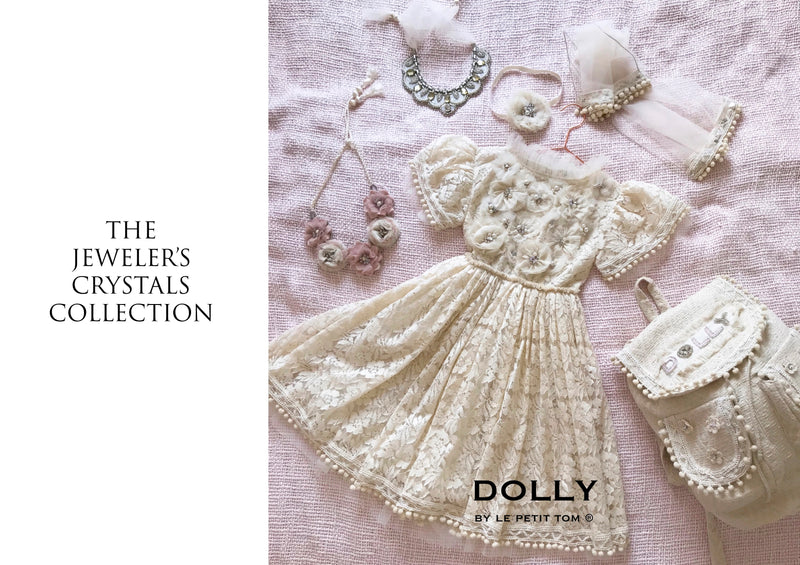 DOLLY JEWELER'S CRYSTALS Diamonds & Pearls Lace dress with pompoms