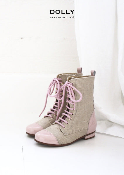 DOLLY by Le Petit Tom ® JUTE VICTORIAN BOOTS 2VIC jute-light pink