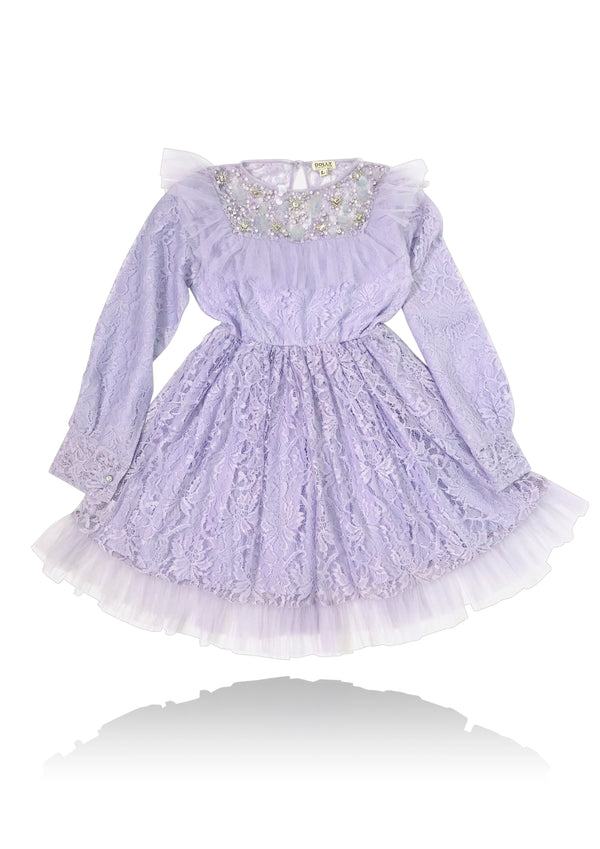 DOLLY JEWELER'S CRYSTALS Lace dress with chest ruffle lavender