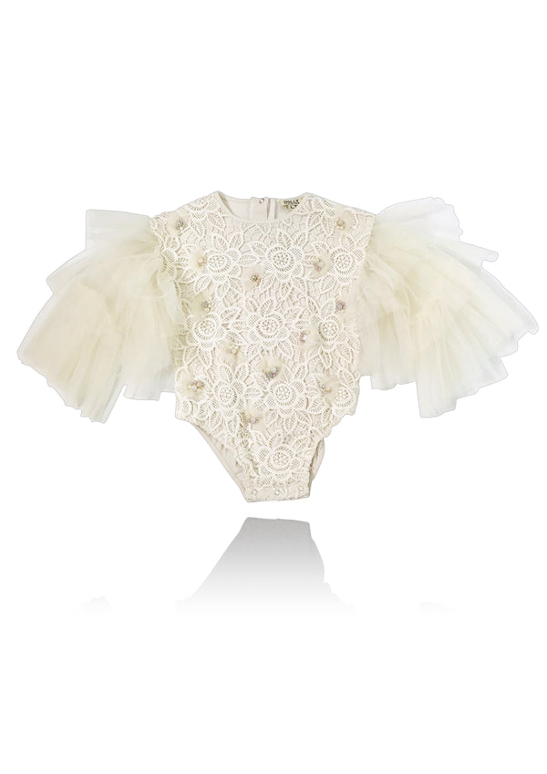 DOLLY by Le Petit Tom ® JEWELER'S CRYSTALS Diamond & Pearls Lace romper ecru
