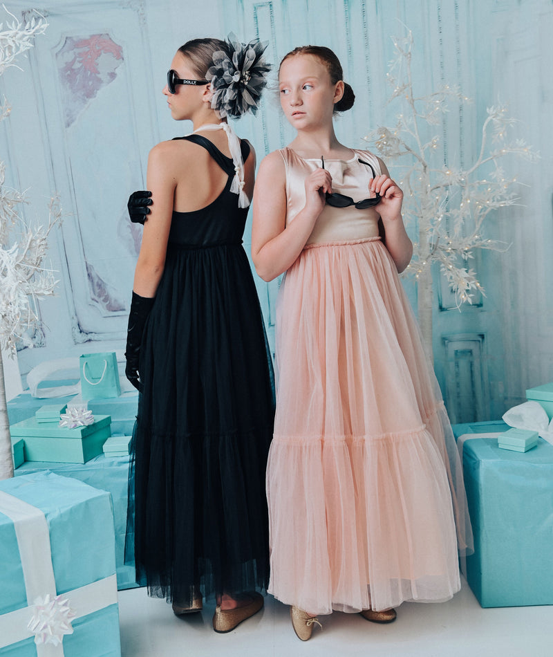 DOLLY GOLIGHTLY Breakfast @ Tiffany's SATIN MAXI TUTU DRESS ballet pink