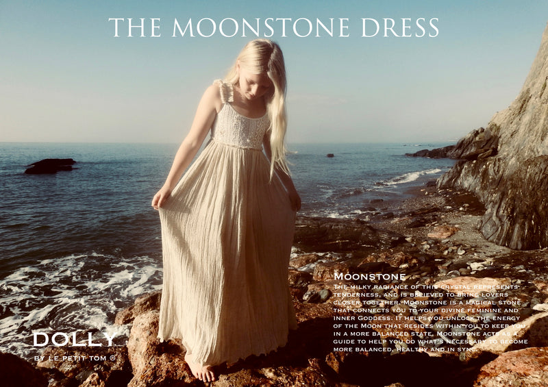 DOLLY by Le Petit Tom ® JEWELER'S CRYSTALS Moonstone crinkled cotton maxi dress