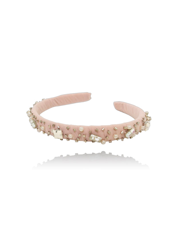 DOLLY by Le Petit Tom ® JEWELER'S CRYSTALS Opal Ondine hair band ballet pink