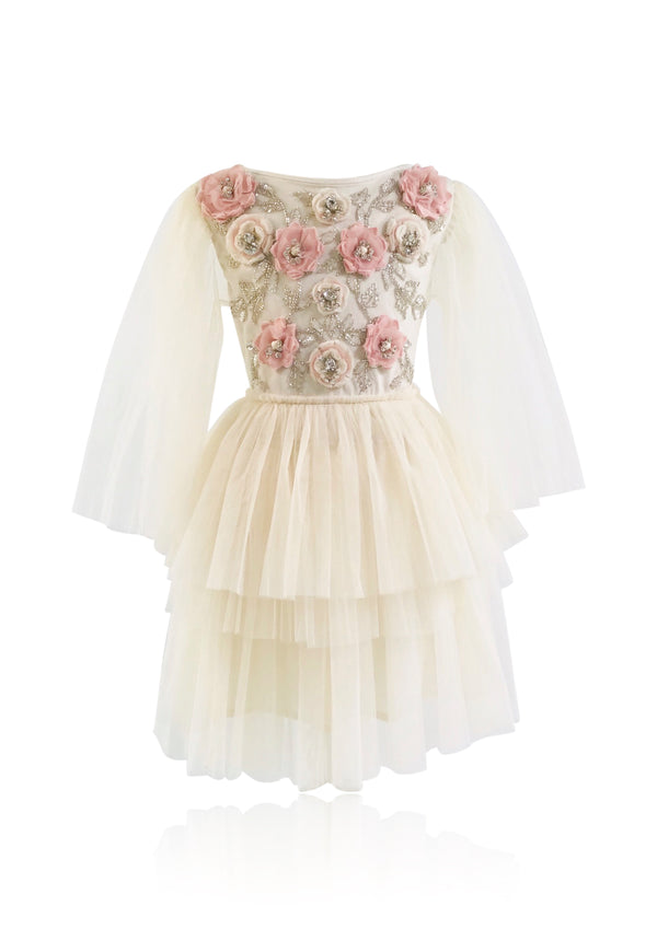 [OUTLET!] DOLLY JEWELER'S CRYSTALS Opal tutu dress off white/ ballet pink