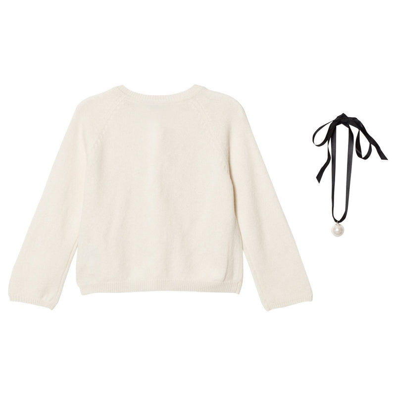 DOLLY by Le Petit Tom ® PEARLED UP CARDIGAN Cashmere off-white - DOLLY by Le Petit Tom ®
