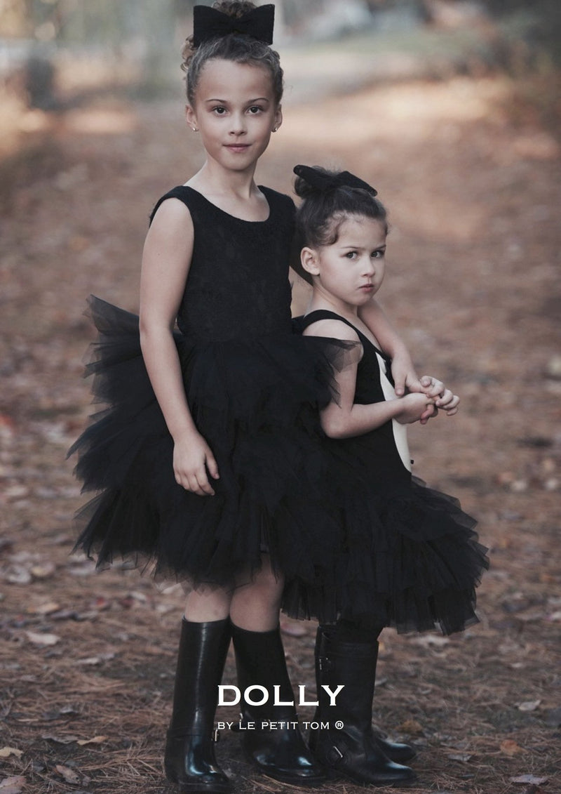 DOLLY by Le Petit Tom ® LACY PIROUETTE TUTU DRESS black